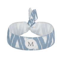 blue and white Ikat triangles Ribbon Hair Tie