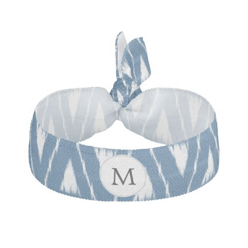 blue and white Ikat triangles Elastic Hair Tie