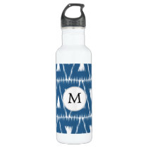 blue and white Ikat triangles Stainless Steel Water Bottle