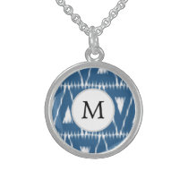 blue and white Ikat triangles Sterling Silver Necklace