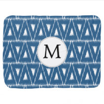 blue and white Ikat triangles Swaddle Blanket