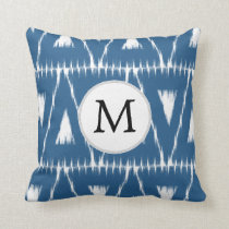 blue and white Ikat triangles Throw Pillow