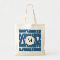 blue and white Ikat triangles Tote Bag