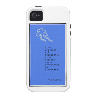 Blue and White iPhone Cover Mindfulness Quote Vibe iPhone 4 Cases