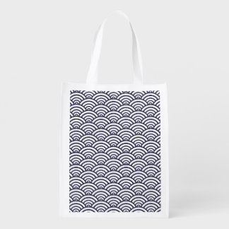 Blue and White Japanese ocean pattern Grocery Bag