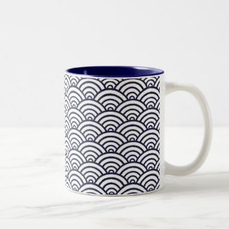 Blue and White Japanese ocean pattern Two-Tone Coffee Mug