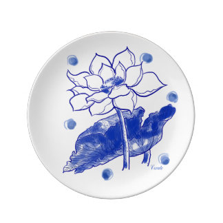 """""""Blue and white"""" Japanese traditional Lotus Flowe Porcelain Plate"""