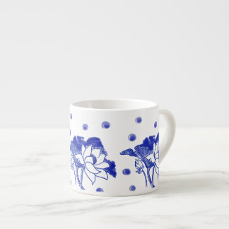 """Blue and white"" Japanese traditional Lotus Flower Espresso Cup"