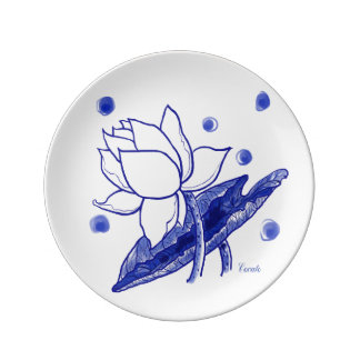 """""""Blue and white"""" Japanese traditional Lotus Flower Plate"""