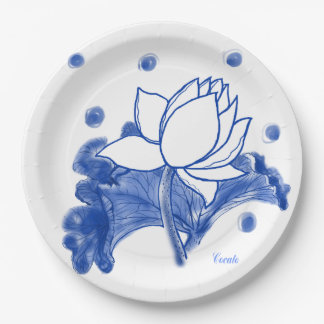 blue and white Japanese traditional plate paper