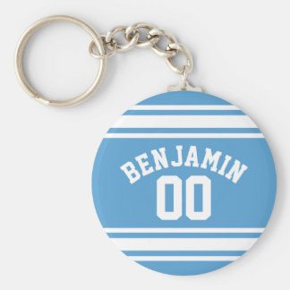 Blue and White Jersey Stripes Custom Name Number Keychain