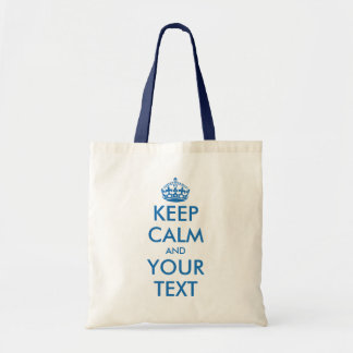 Blue and white Keep Calm tote bag | Customizable