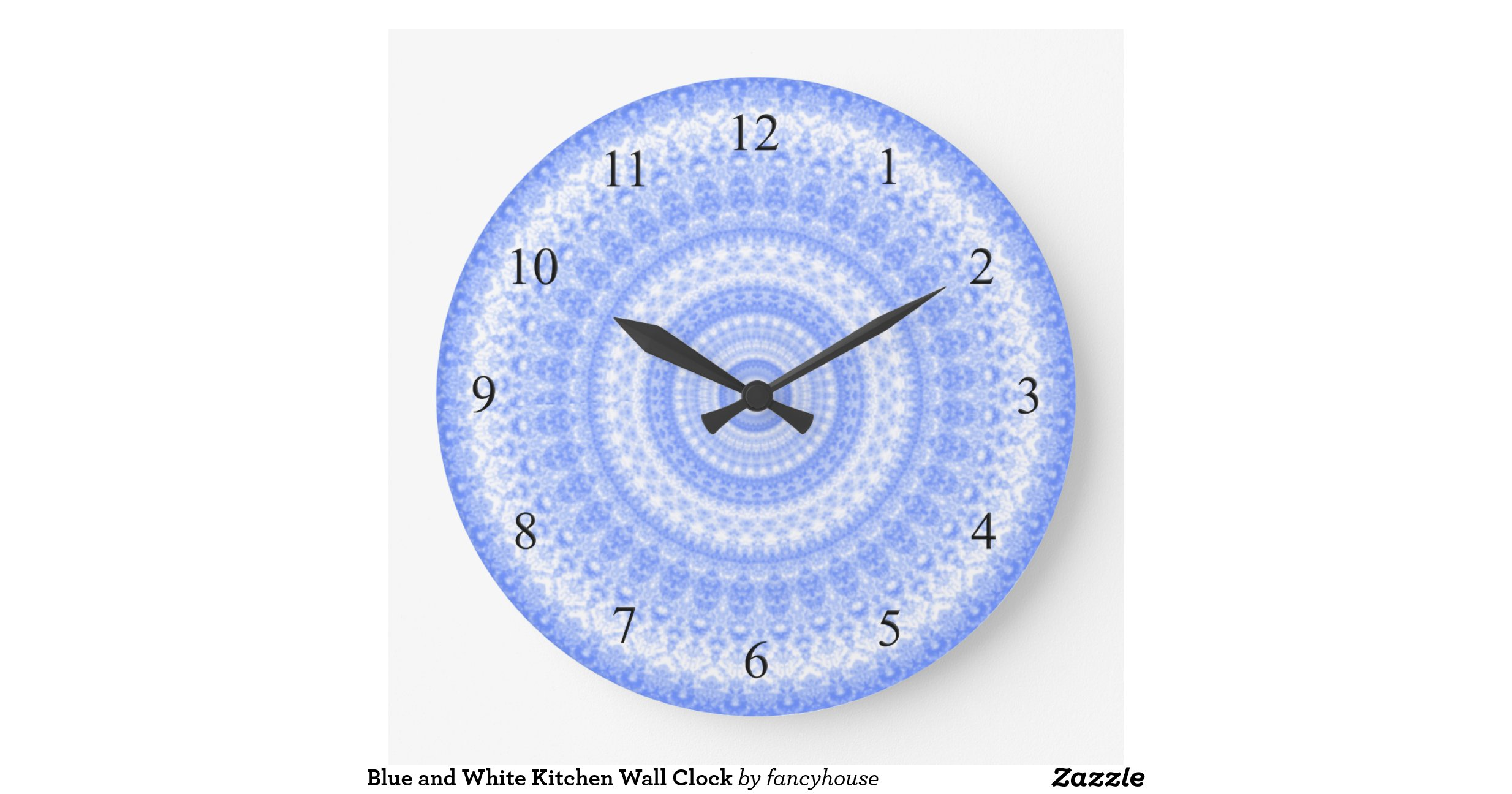 Blue and white kitchen wall clock for Blue kitchen wall clocks