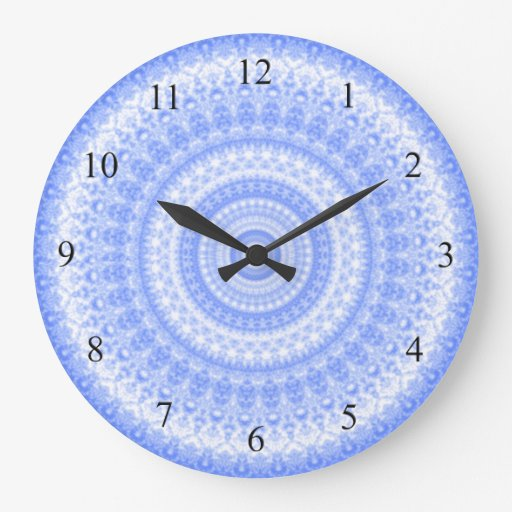 Blue and white kitchen wall clock zazzle for Blue kitchen wall clocks