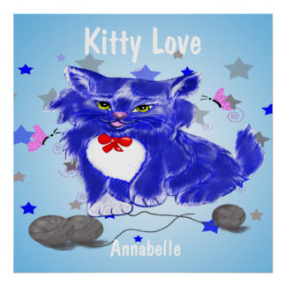 Blue and white kitty playing with threads poster