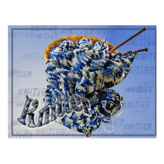 Blue and White Knitter Yarn in a Basket Postcard