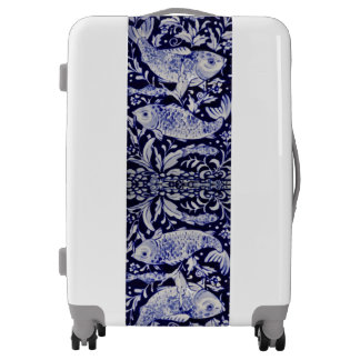 Blue and White Koi Fish Designer Luggage Elegant