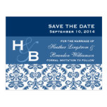 Blue and White Lace Damask Save The Date V007 Post Card