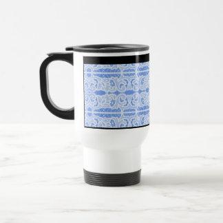 Blue and White Lace Elegant Vintage Victorian Travel Mug