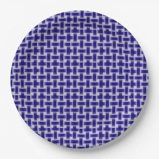 Blue and White Laced Pattern Design 9 Inch Paper Plate
