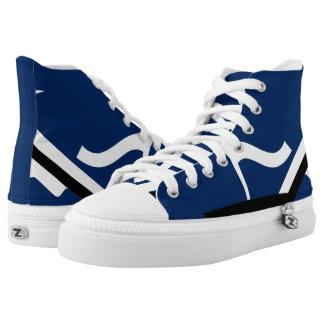 Blue and White Leverage Custom Designer Hi-Top