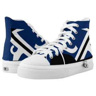 Blue and White Leverage II Custom Designer Hi-Top