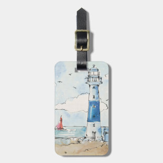 Blue and White Lighthouse Bag Tag