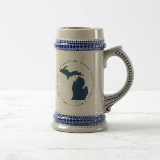 Blue and White Logo Stein Coffee Mug