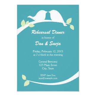 Blue and White Love Birds Rehearsal Dinner Invites