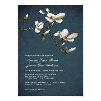 Blue and White Magnolia Wedding Invitation