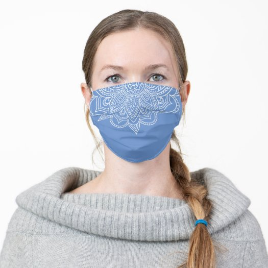 pretty Blue and White Floral Mandala Covid 19 Face Mask for girls and women
