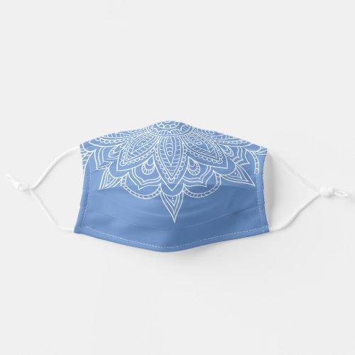 Blue and White Mandala Bandana Style Covid 19 Cloth Face Mask