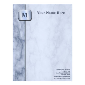 Blue and White Marble Letterhead