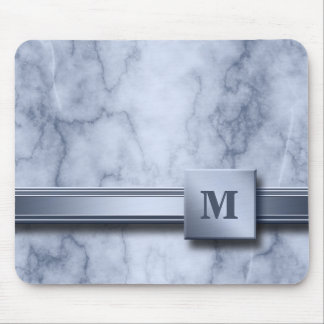 Blue and White Marble Look Mouse Pad