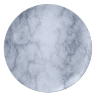 Blue and White Marble Melamine Plate