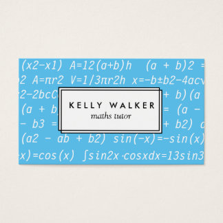 Blue and white math tutor typography business card