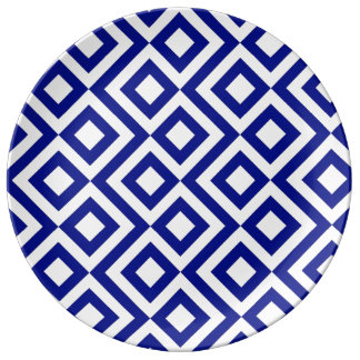 Blue and White Meander Dinner Plate