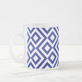 Blue and White Meander Frosted Glass Coffee Mug