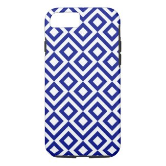 Blue and White Meander Geometric Pattern