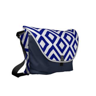 Blue and White Meander Messenger Bag
