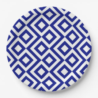 Blue and White Meander Paper Plate