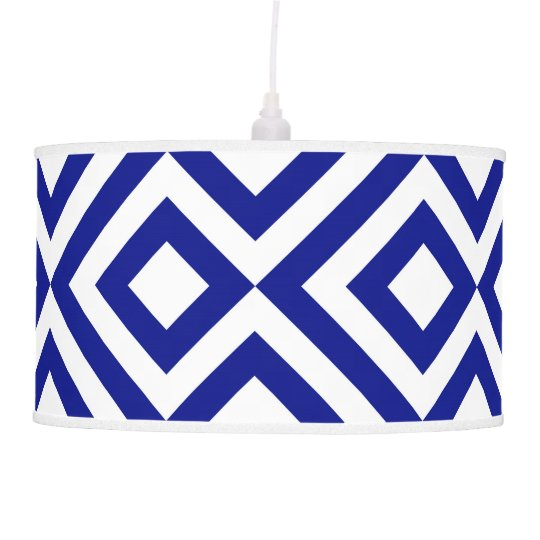 Blue and White Meander Pendant Lamp