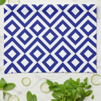 Blue and White Meander Towel