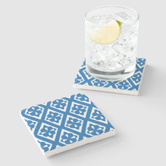 Blue and White Medieval Diamond Tiled Pattern Stone Coaster