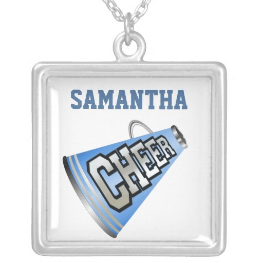 Blue and White Megaphone Cheerleader Necklace