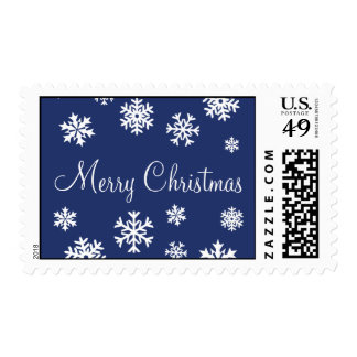 Blue and White Merry Christmas Snowflakes Postage