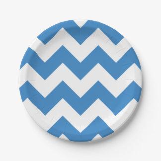 Blue and White Modern Chevron Paper Plate