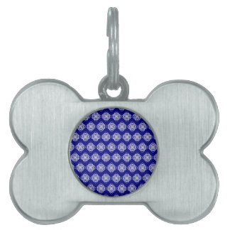Blue and White Modern Decorative Links Pet ID Tag