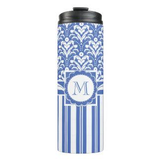Blue and White Monogram Floral Damask Thermal Tumbler