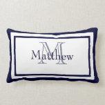 Blue and White Monogram Name Keepsake Pillow